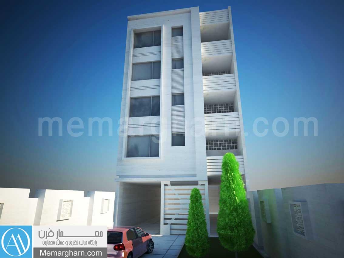 نمای ساختمان مسکونی عرض 9 مساحت288 متر