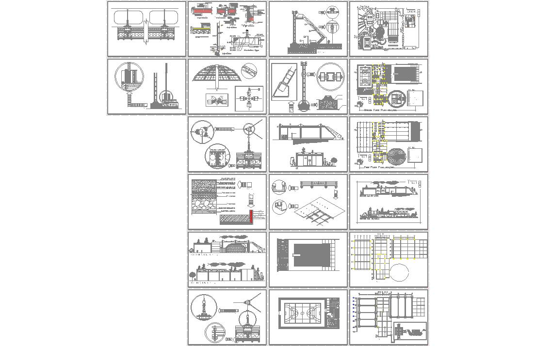 کل نقشه های اتوکد مجموعه ورزشی عمومی