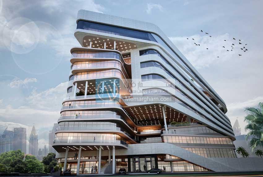 رندر های طراحی مجتمع مسکونی با رویکرد استفاده از بام سبز در معماری