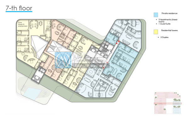 پلان طبقات طراحی مجتمع مسکونی با رویکرد استفاده از بام سبز در معماری
