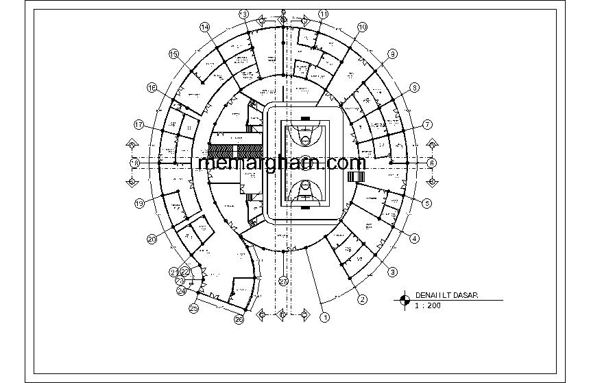 پلان طبقه اول مجموعه ورزشی بانوان