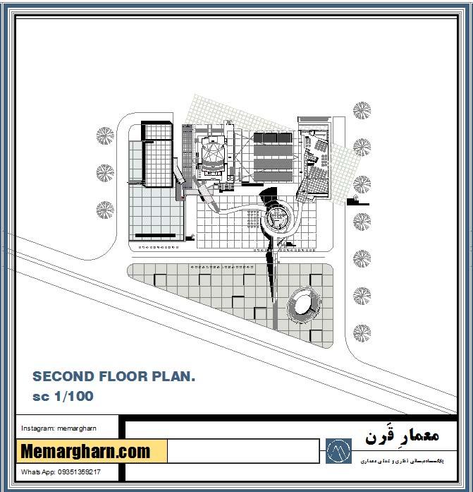 طراحی پلان و نقشه های اتوکد معماری آکادمی سینمایی ایران