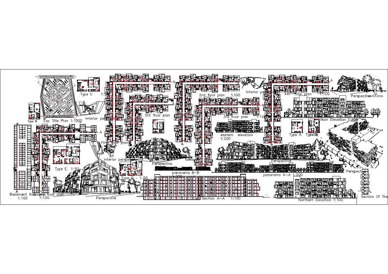 کلیه نقشه های پروژه مجتمع مسکونی سالمندان