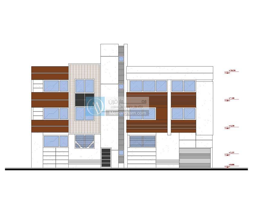 نقشه ساختمان عرض 18 مساحت 440 متر مربع