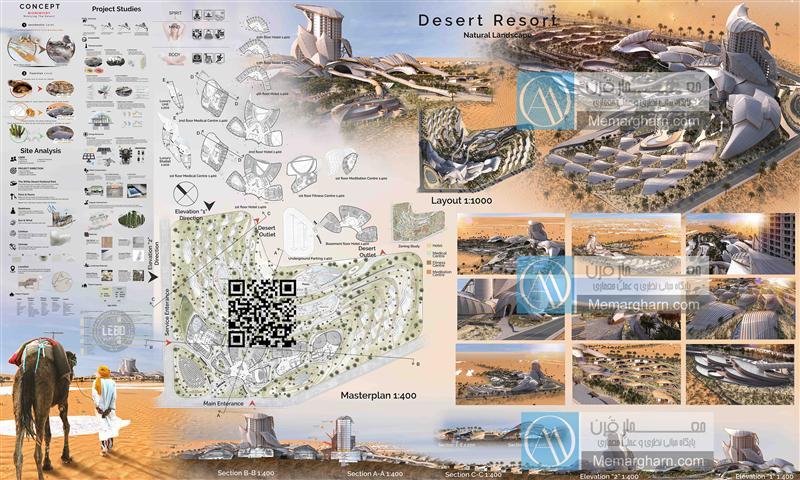 نقشه های معماری اکو کمپ صحرایی با رویکرد معماری پایدار